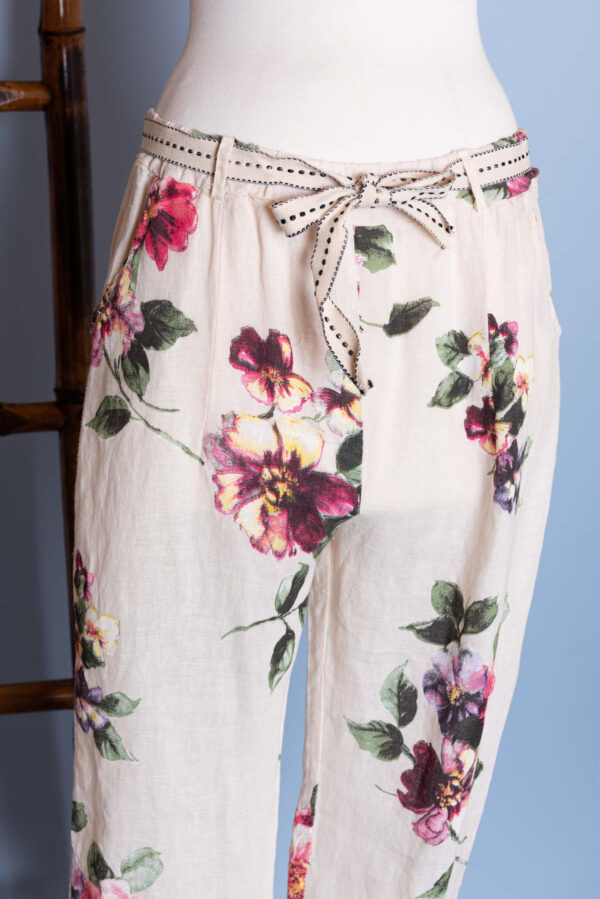 Linen Pants white with floral patterns on them and ribbon belt