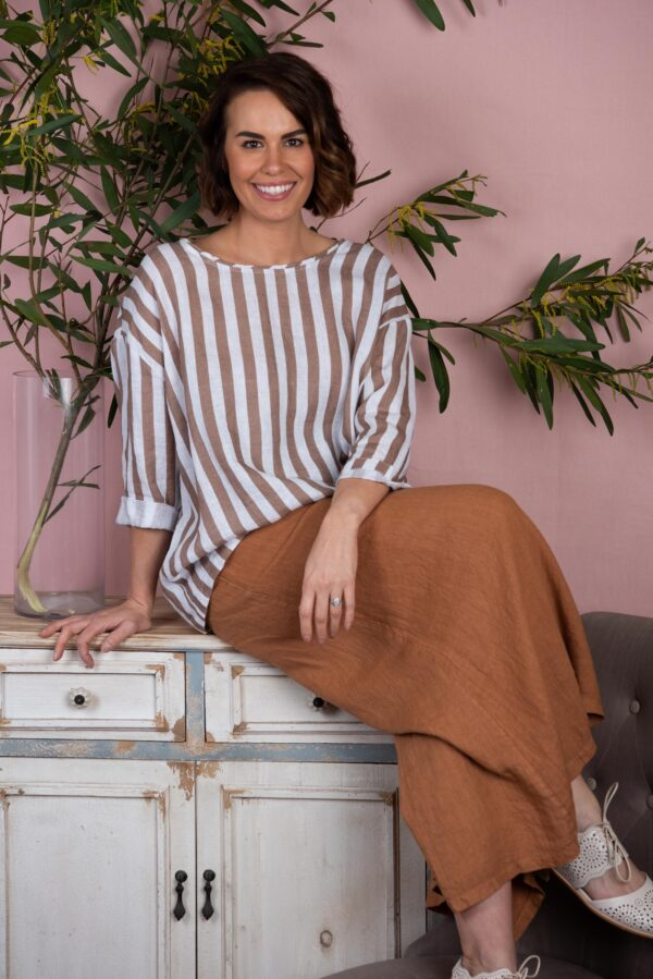 100% linen relaxed fit top with stripes