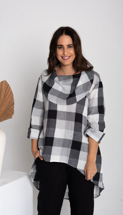 Cowl Neck Top with 3/4 sleeves. Linen with black and white check. Length just bellow the hip with a longer back.