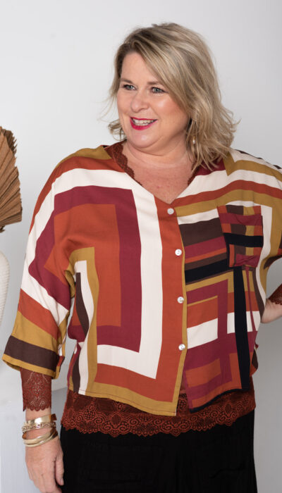 Donna Donna Clothing Australia Maze Shirt, button down front. No collar