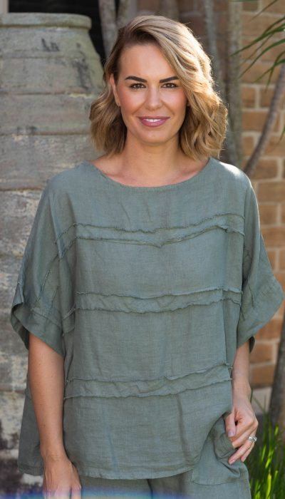Linen Top with beautiful frayed detail. Relaxed fit linen top.