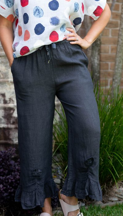 100% Linen Pants with Drawstring waist