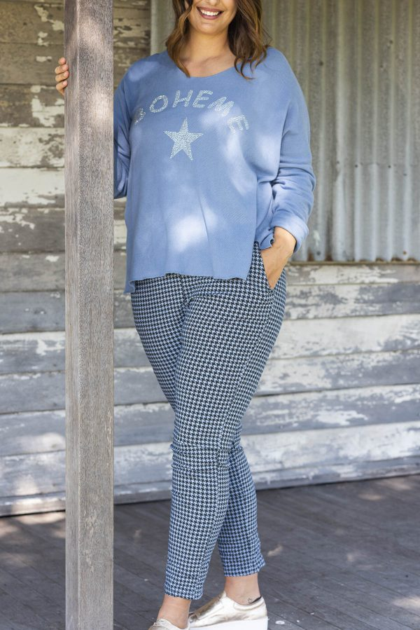 Tartan Pants in Blue with check and in stretch material